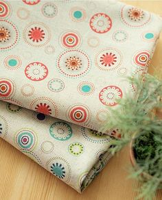 Round Floral Pattern Linen Fabric  2 Colors by luckyshop0228, $18.90