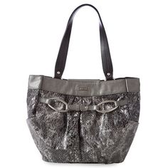 "Kara-Like to be the center of attention? The Kara for Demi Bags boasts an undeniable ""wow factor"" that definitely leaves a lasting impression. You'll love Kara's sexy faux leather snakeskin print in shades of black and grey. The look is capped off with silver buckle accent hardware and matching detailing. Time to shine! End pockets."
