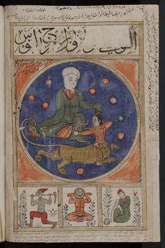 Signs of the zodiac: Aquarius, or al-Dālī. From a Arabic collectaneous manuscript known as Kitab al-bulhan. Illustrations, Illustration Art, Creepy Photos, Tarot, Zodiac Art, Zodiac Capricorn, Mystique, Illuminated Manuscript, Ancient Art