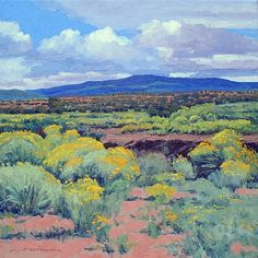 """Chamisa Wash"" by Cliff Cavin Oil ~ 18 x 18 Pastel Landscape, Landscape Art, Landscape Paintings, Southwestern Art, Desert Art, Pastel Art, Beautiful Paintings, Painting Inspiration, Amazing Art"