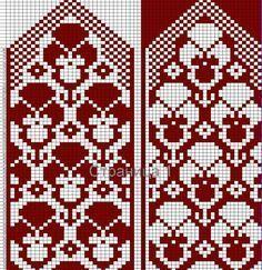 "Вязание. Жаккард - ""Зимняя радуга"" | ВКонтакте Beginner Knitting Patterns, Fair Isle Knitting Patterns, Knitting Charts, Knitting Stitches, Knitted Mittens Pattern, Knitted Gloves, Knitting Socks, Mosaic Patterns, Counted Cross Stitches"