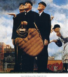 Game Called Because of Rain (Tough Call) - Norman Rockwell