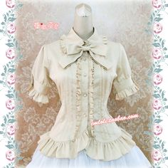 [Strawberry Witch] Ruffled front button down short sleeve blouse (cream/blue/white/black/purple/red)