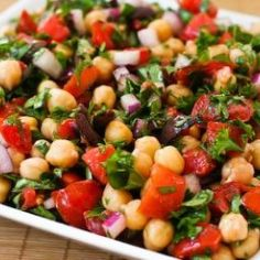 Chickpea (Garbanzo Bean) Salad Recipe with Tomatoes, Olives, Basil, and Parsley; this is especially good with fresh-cooked garbanzo beans, Marinated Vegetable Salads, Vegetable Salad Recipes, Chickpea Salad Recipes, Vegetarian Recipes, Cooking Recipes, Healthy Recipes, Lentil Salad, Cooking Videos, Quick Recipes