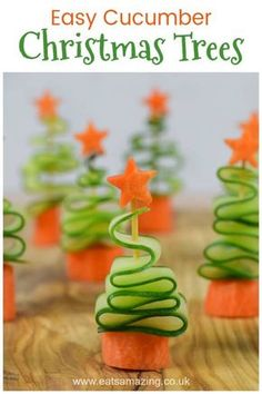 Fun and Healthy Christmas Party Food for Kids - Easy Cucumber Christmas Trees re. - Fun and Healthy Christmas Party Food for Kids – Easy Cucumber Christmas Trees recipe - Healthy Christmas Party Food, Christmas Tree Food, Christmas Snacks, Xmas Food, Christmas Appetizers, Christmas Cooking, Holiday Treats, Holiday Recipes, Kids Christmas