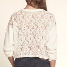 NWT Hollister cream lace back sweatshirt small Brand new with tag pullover long sleeve sweater shirt in cream with lace back. Comfortable and sexy without showing off all your goodies. Hollister Sweaters
