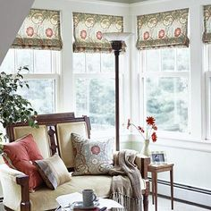 I love these shades and the color too. Sunroom Splendor - Don't cover up pretty windows with heavy draperies. These tailored shades are kept raised most of the year, acting as a fabric valance that doesn't hide attractive window moldings. When the sun is low in the sky, the shades can be lowered to control daylight in winter months.