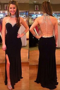 Discount Cute 2018 Prom Dresses Halter Black Split Floor-Length Prom Dress With Beading Rhinestones Nude Prom Dresses, High Low Prom Dresses, Best Prom Dresses, Homecoming Dresses, Nice Dresses, Sexy Backless Dress, Chiffon Dress, Fashion Corner, Prom Ideas