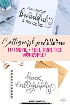 Faux Calligraphy Tutorial | Free Faux Calligraphy Worksheet | Vial Designs Calligraphy Worksheet, Calligraphy Tutorial, Hand Lettering Tutorial, Calligraphy Practice, Hand Lettering For Beginners, Calligraphy For Beginners, Hand Lettering Alphabet, Hand Lettering Quotes, Typography