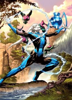 Blue Lantern Saint Walker of Space Sector Art by Ivan Reis. Batman, Superman, Comic Books Art, Comic Art, Book Art, Blue Lantern Corps, Black Lantern, Green Lanterns, Dc Comics Characters