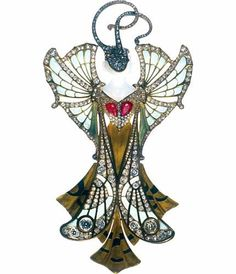 Les Arts Décoratifs - Art nouveau - Pendentif « Sylvia », 1900. Paul and Henri Vever. Gold, agate, ruby, diamonds, email. What a beautiful lady disguised as a brooche. Only in 1900.