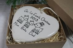 Our 1st Family Christmas Porcelain Heart by aphroditescanvas, $22.00