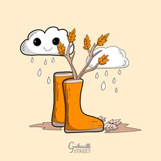 Allons sauter dans les flaques #GribouilliStreet #automne #doodle