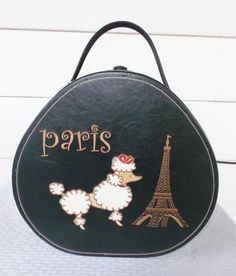1950s Vintage Hat Box Luggage Case with Poodle and Eiffel Tower Paris