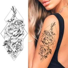 Tattoos Temp Tattoo Flower Stain Glass Waterproof lasts 4-5 days!Size: 8 x 4.5 inchesRemoval with alcohol Girl Arm Tattoos, Tattoos For Women Half Sleeve, Upper Arm Tattoos, Shoulder Tattoos For Women, Arm Tattoos For Women, Rose Tattoos, Tattoos Pics, Shoulder Sleeve Tattoos, Quarter Sleeve Tattoos