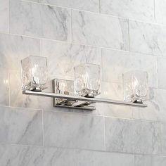 Kitta Modern Wall Light Polished Nickel Hardwired Wide Fixture Clear Square Glass for Bathroom Vanity - Possini Euro Design Bathroom Wall Lights, Bathroom Light Fixtures, Bathroom Vanity Lighting, Outdoor Wall Lighting, Bar Lighting, Lighting Ideas, Vanity Light Bar, Glass Vanity, Modern Wall Lights