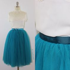 In love with this teal color! More styles and colors are coming in April! | Skirt: Colette 4-layers soft tulle skirt in Teal, pictured with non-stretchy waistband - coming to the store this weekend! | Blouse: Vintage inspired Kayla guipure lace blouse in Ivory  #tulleskirt #tulleskirts #tulle #tutu #adulttutu #tutuskirt #puffyskirt #bridal #bridalskirt #bridaldress #bridesmaids #engagement #engagementphotoshoot #plussize #fashionshop #instafashion #shopping #fashion #style #dressup #pretty
