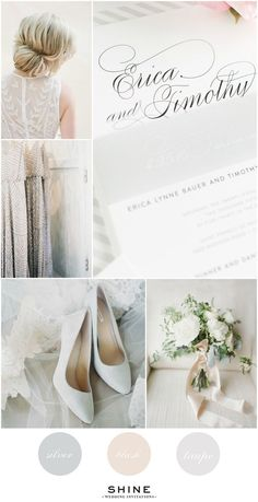 Neutral Wedding Inspiration -Silver, Blush, Taupe - Lace Wedding Dress, Adrianna Papell Sequined Bridesmaids Dresses, Gray Shoes, Calligraphy Wedding Invitations