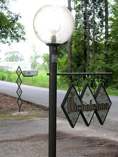 DIY Mid-Century Mod mailbox post & address sign