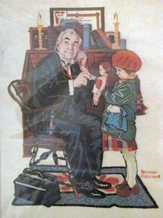 Dimensions Norman Rockwell Doctor and the Doll Crewel Embroidery Kit New Sealed #Dimensions