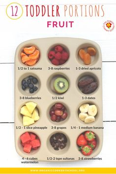 Toddler Portion Sizes – Ideas and Strategies to Ensure Your Toddler's Diet is Balanced and Varied. Toddler Portion Sizes – Ideas and Strategies to Ensure Your Toddler's Diet is Balanced and Varied. — The Organic Cookery School (Fruit) Healthy Kids, Healthy Snacks, Healthy Toddler Meals, Toddler Nutrition, Healthy Baby Food, Baby Food Recipes, Snack Recipes, Baby Fingerfood Recipes, Detox Recipes
