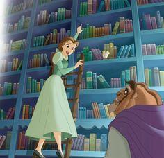 and the Beast with Chip the teacup in the library full of books Fera Disney, Walt Disney, Disney Belle, Disney Couples, Cute Disney, Disney Art, Funny Disney, Disney Princess Cartoons, Disney Films