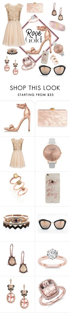 """rose gold everywhere"" by christy-vnk on Polyvore featuring River Island, Edie Parker, Little Mistress, Topshop, Eddie Borgo, Sonix, Aamaya by Priyanka, Miu Miu, Ippolita and Effy Jewelry"