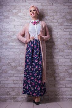 long cardigan with maxi skirt