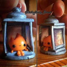 """Inspired by my mountains... A tiny kawaii lantern (that took me 3 hours ). I used fimo liquid for the """"glasses"""" mixed up with the make up using grey, red yellow, red, gold colors to create the effect of the burning flame... I know it isn't perfect but I like the result anyway #polymerclay #clay #cernit #fimo #lantern #charm #kawaii #supercute #superkawaii #lanterna #luce #fiamma #flame #liquid #red #fire #romanticism #love #amore #montagna #light #luce #lumière #feu"""