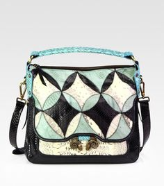 Small Anthea Snake-Embossed Leather Shoulder Bag