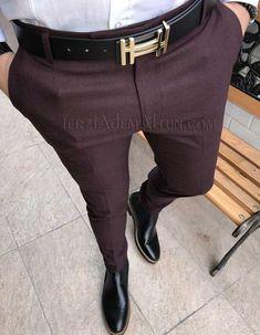 Michail score slim fit likralı kışlık gri erkek kumaş pantolon T1795 Mens Fashion Wear, Suit Fashion, Look Fashion, 2018 Mens Casual, Men Casual, Mens Plaid Pants, Formal Men Outfit, Outfits Hombre, Stylish Mens Outfits