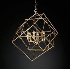 RH Modern's Caged Cubist Pendant:Our geometric pendant designed by Theo Eichholtz consists of three open cubes asymmetrically interlocked. Mimicking the rotation pattern of electrons, its multifaceted metal frame surrounds six bulbs, for a powerful and provocative display of illumination.