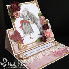 Awesome easel card using Mo's image by Heidy