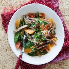 Shredded roast Duck, Orange and Snow Pea Salad - Nadia Lim Snow Peas Salad Recipe, Chinese Roast Duck, Eat Your Books, Pork Noodles, Cooking Recipes, Healthy Recipes, Healthy Food, Pea Salad, Lunch Menu