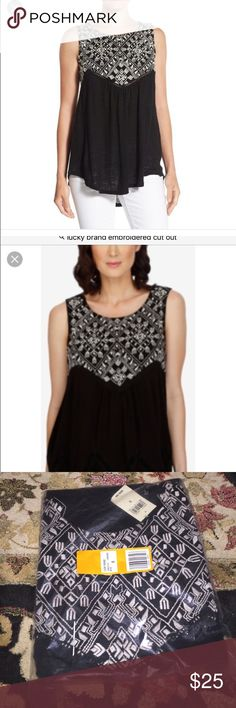 Lucky brand embroidered cut out tank nwt small New in plastic wrap, last picture is adorable back Lucky Brand Tops Tank Tops