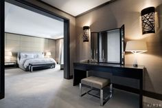 schlafzimmer design schminktisch spiegel wandleuchten