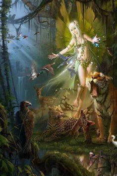 Fairy of the the animals fantasy art. Fairy Dust, Fairy Land, Fairy Tales, Forest Fairy, Fairy Pictures, Fantasy Pictures, Magical Creatures, Fantasy Creatures, Woodland Creatures