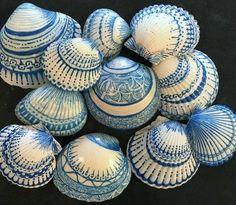 Gorgeous sharpie decorated mandala shells by Barbara Moloney Callen.