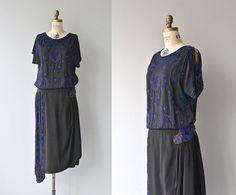 Geocentric Zenith vintage 1920s dress  silk beaded by DearGolden, $625.00