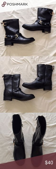 Unisa women's black mid calf boots - size 8 Brand: Unisa  Size: 8  Color: black & gold  Worn once  Side zipper closure  Comes with original shoe box Unisa Shoes Winter & Rain Boots