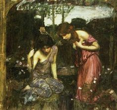 John William Waterhouse - Study for Nymphs finding the Head of Orpheus