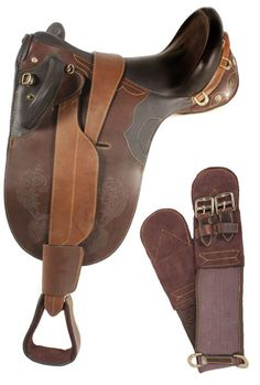 This gorgeous hand crafted Australian saddle is specially designed to fit most horses with its new and innovated built stuff wool panels that form to the horses back. The saddle features a deep seat for added comfort and is made with soft supple drum dried leather and all brass hardware. The saddle has amazing embossing which goes around the border of the double sided flap and brings out the beauty of the leather. Comes complete with stirrups, over girth and under girth. Model 3159. ONLY…
