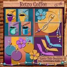 Retro Coffee  Digital Scrapbooking Kit by Latte Dah Designs