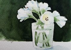 White Lilies Original Watercolor Painting Flowers by RoseAnnHayes
