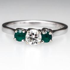 Emerald & Diamond Three Stone Engagement Ring