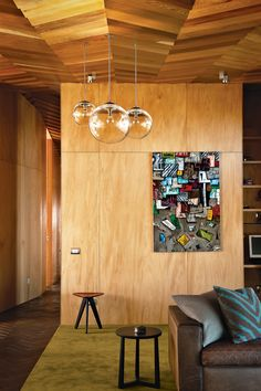 nice plywood paneling and a wood ceiling.