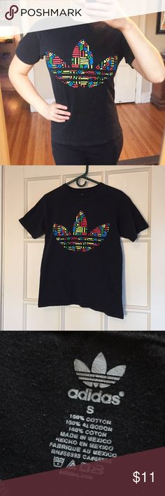 Adidas classic logo tee Bright, eye catching colors and classic, comfortable fit. A workout essential! Used-in great condition! Size S. Adidas Tops Tees - Short Sleeve