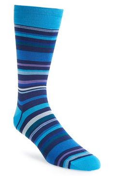 Men's Bugatchi Stripe Cotton Blend Socks - Blue