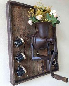 do café Cantinho do café Кантиньо до кафе - Home Crafts, Diy Home Decor, Diy And Crafts, Rustic Crafts, Rustic Decor, Country Western Decor, Diy Para A Casa, Wood Projects, Projects To Try