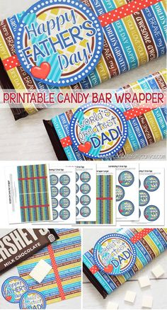 Printable FATHER'S DAY candy bar wrapper - regular sized and for XL bars too! So cute + gift tag! #mycomputerismycanvas